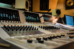 Studio Mixing Board Depth of Field Speakers Screens. Studio Mixing Board Depth of Field Speakers Stock Photography