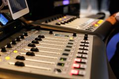 Studio with modern sound mixing equipment. Selective focus Stock Photos