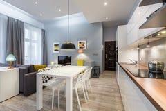 Studio moderne plat avec le kichenette image libre de droits