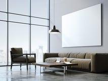 Studio moderno del sottotetto con tela in bianco rappresentazione 3d Immagini Stock Libere da Diritti
