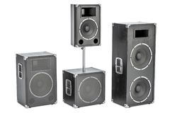 Studio monitor loudspeakers, 3D rendering. Isolated on white background stock illustration