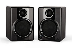 Studio Monitors. Closeup on a white background with two speakers Royalty Free Stock Photo