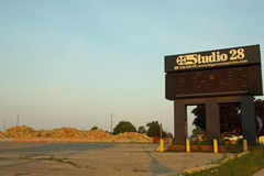 Studio 28 movie theatre Sign and pile of rubble Stock Photo