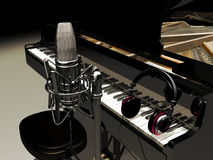 Studio music. A studio microphone at  the foreground of a great piano with headphones on its keyboard Royalty Free Stock Image