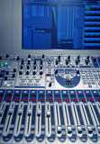 Studio music mixer. With computer screen Stock Photography