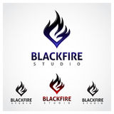 Studio nero del fuoco Immagini Stock Libere da Diritti