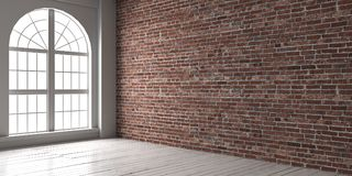 Studio or office blank space. Empty room with arched window and shiplap flooring. Brick wall in loft interior mockup. Studio or office blank space Royalty Free Stock Photography