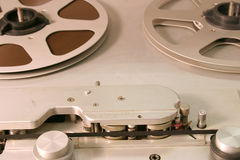 Studio Open Reel Tape Deck. Head Block and Reels of studio tape recorder Royalty Free Stock Photography