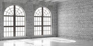 Studio ou bureau vide blanc dans le style de grenier Photo stock