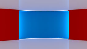 Studio. Perfect backdrop for any green screen chromakey production. Red and blue background. Red wall. Blue wall .3d. Stock Image