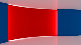 Studio. Perfect backdrop for any green screen chromakey production. Red and blue background. Red wall. Blue wall .3d. Stock Photos
