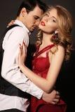 Studio photo of beautiful couple, wears elegant clothes, Stock Photo