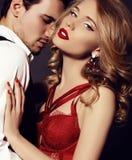 Studio photo of beautiful couple, wears elegant clothes, Stock Photos