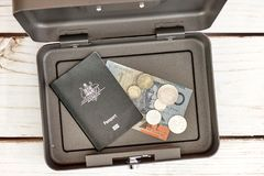 Cash Box. A studio photo of a cash box Stock Photos