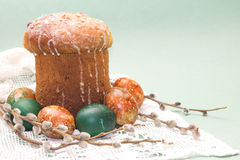 Studio photo of Easter cake and colored eggs Stock Photo
