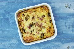 Egg Bake Dish. A studio photo of an egg bake Royalty Free Stock Photography