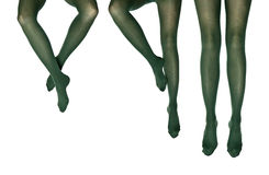 Studio photo of the female legs in colorful tights Stock Photos