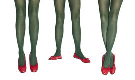 Studio photo of the female legs in colorful tights Royalty Free Stock Image