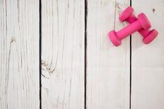 Dumbells. A studio photo of pink dumbells Stock Photography
