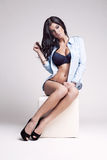 Studio photo of posing sexy woman Royalty Free Stock Photos