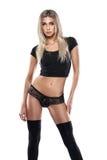 Studio photo of posing sexy woman with nice lingerie Stock Photos