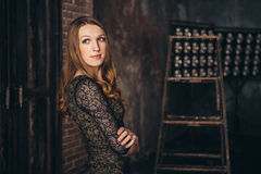 Studio photo session of the girl in a lyrical mood Stock Photography
