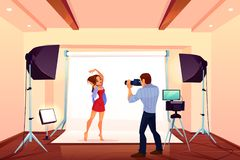 Studio photo shoot with model posing on backstage. With light and professional equipment. Photographer with camera take shots of young girl for glamour magazine stock illustration