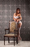 Studio photo of vintage sexy young woman, lingerie Royalty Free Stock Images