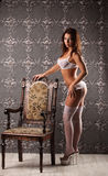 Studio photo of vintage sexy young woman, white lingerie Stock Photography