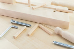 A studio photo of a wood asseble  project Stock Image