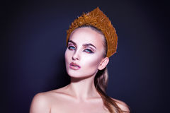 Studio photo of young beautiful girl with healthy skin makeup Royalty Free Stock Photography