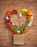 Studio photography of heart made from different fruits and vegetables Stock Photos