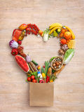 Studio photography of heart made from different fruits and vegetables Stock Image