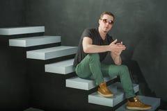 Studio photography hipster man Stock Photos