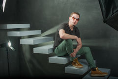 Studio photography hipster man Royalty Free Stock Image