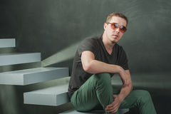Studio photography hipster man Stock Images