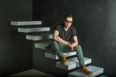 Studio photography hipster man Royalty Free Stock Photography