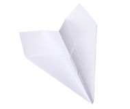 Studio photography of a paper plane isolated on white with clipping path Stock Images