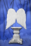Studio Photography Set With Angelic Wings. (Insert Subject Sitting on Pedestal royalty free stock photos