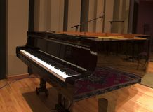 Studio Piano. Grand piano in large recording studio with microphones royalty free stock photography