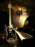 Studio piano and guitar Stock Image