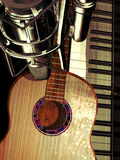 Studio piano and guitar Royalty Free Stock Image