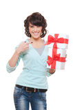 Studio picture of smiley woman with gift boxes Royalty Free Stock Photos