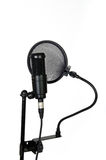 Studio pop filter. And microphone on white background Royalty Free Stock Photos