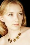 Studio portrait. Studio head and shoulders shot of blond girl stock photos