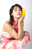 Studio portrait of autumn woman. Stock Image