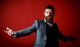Studio portrait of a bearded hipster man. Male beard and mustache. Handsome stylish bearded man. Bearded man in suit and stock image