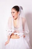 Studio portrait of beautiful angry bride Royalty Free Stock Photo
