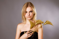 Studio portrait of beautiful blonde girl Royalty Free Stock Image