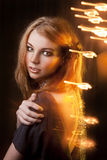Studio portrait of beautiful girl.bright lights. Stock Photography